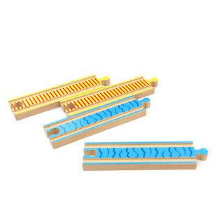 木制軌道玩具 彩色散件軌道直軌 大號直道 軌道玩具