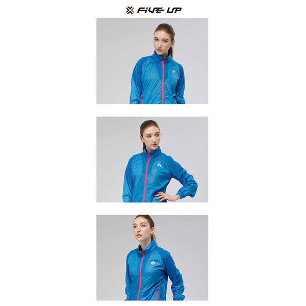 FIVE UP彩虹色抗UV薄風衣外套-藍