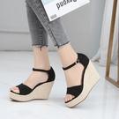 厚底涼鞋 坡跟涼鞋女新款百搭麻繩編織舒適厚底一字帶超高跟大小碼時尚潮鞋