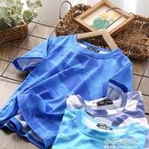 速幹男童短袖t恤夏裝2020新款洋氣運動兒童迷彩彈力半袖【小艾新品】