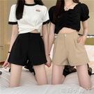 西裝短褲女夏季薄款小個子甜酷工裝休閒褲子高腰寬鬆白色闊腿熱褲 蘿莉館品
