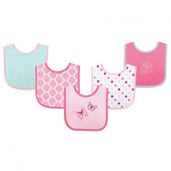 Luvable Friends 防水底層圍兜5件組 - 粉藍幾何蝴蝶 02331