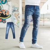 牛仔褲 韓國製抓破抽鬚刷白彈性窄管牛仔褲【NB0672J】