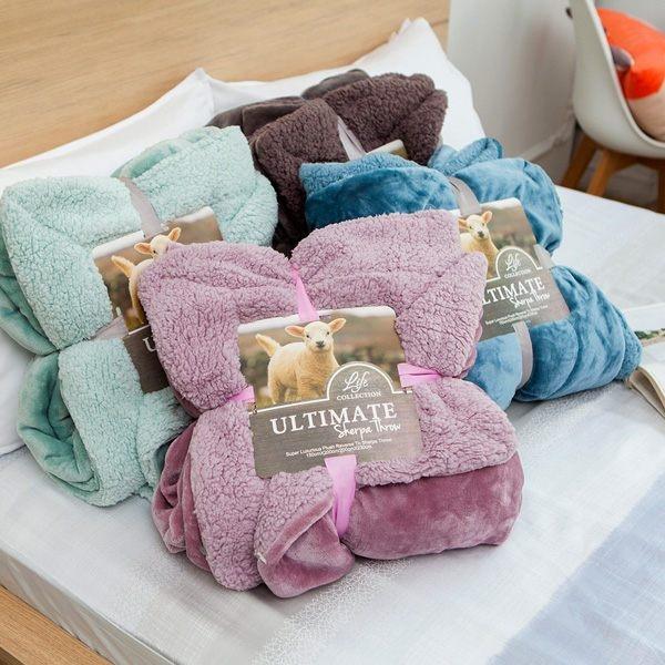 BELLE VIE 特大尺寸 經典原色 雙面羊羔法蘭絨大毯 (180x200cm) 6色任選