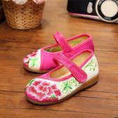 新款兒童繡花鞋女童老北京布鞋小女孩舞蹈鞋寶寶校園復古表演出鞋