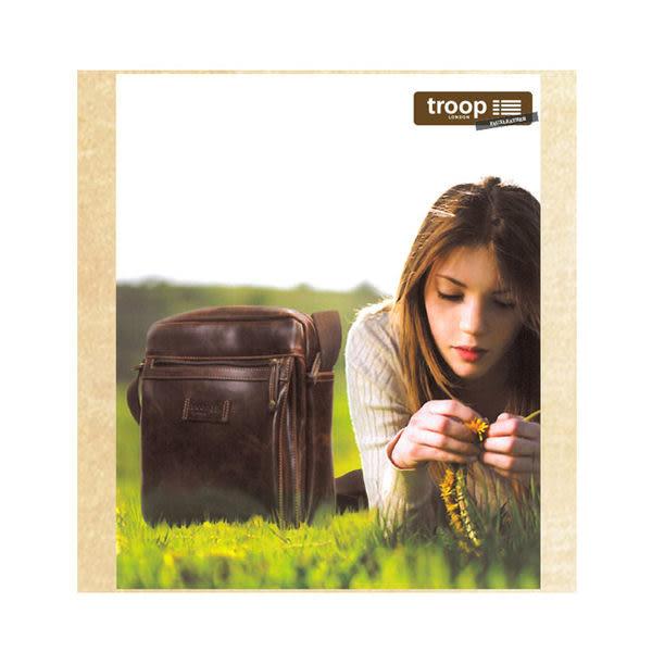 TROOP 英國 經典新風格FAUX LEATHER斜背包 亮面牛皮 深咖啡色 /TLL009DB