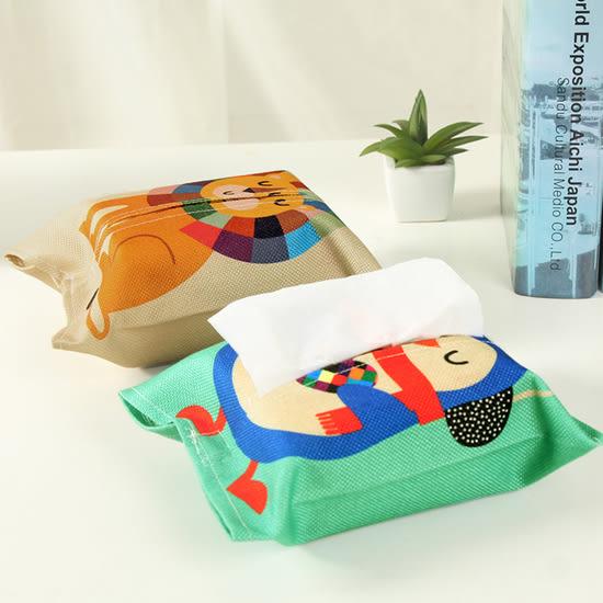 ♚MY COLOR♚圖案印花棉麻面紙套 紙巾 隨身 便攜 開口 可愛 學生 小資 衛生紙 裝飾【L164】