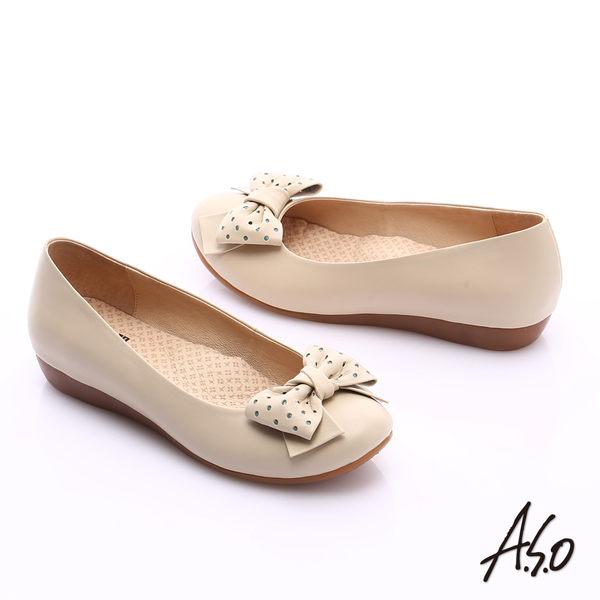 A.S.O 舒適通勤 全真皮點點蝴蝶結飾奈米平底鞋  米