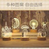(店主嚴選)立體小夜燈插電創意夢幻迷你台燈臥室床頭簡約現代麋鹿水母城堡