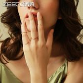 韓國鍍18K玫瑰金極細戒指 女食指環關節戒子飾品日韓裝飾潮人尾戒