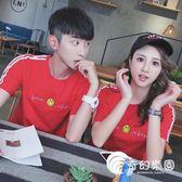 氣質情侶裝夏裝韓范全棉紅色短袖t恤女學生字母半袖體恤上衣班服-奇幻樂園