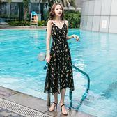 夏季時尚低胸燙金羽毛印花百搭開叉連身裙 奇思妙想屋