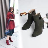 丁果、大尺碼女鞋34-46►甜美優雅珍珠尖頭高跟短靴子騎士靴*3色