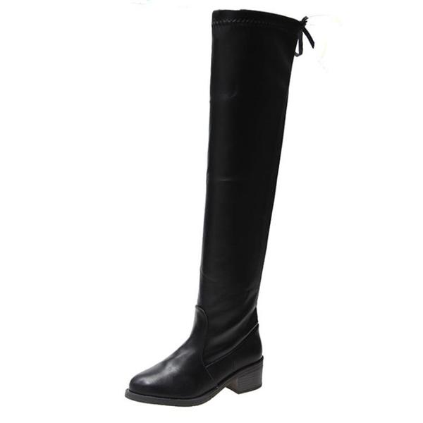 長筒過膝顯瘦瘦靴子女英倫風復古工裝靴小個子加絨長靴 - 風尚3C