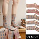 OT SHOP[現貨]襪子 中筒襪 運動襪 女款 棉質 大地色系 日系學院風 百搭 菱紋/格紋/方格/千鳥 M1165