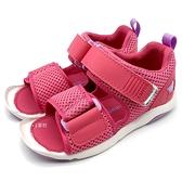 《7+1童鞋》中童 日本 MOONSTAR 月星 透氣 魔鬼氈 機能涼鞋 C484 粉色