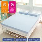 【1/3 A LIFE】12CM特柔舒壓竹炭記憶床墊-雙大6尺天空藍送棉花糖枕2入