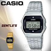 CASIO 卡西歐 手錶專賣店 國隆 A159WAD-1D 電子男錶 不鏽鋼錶帶 黑色錶面 立體多面切割玻璃