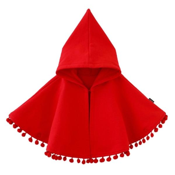 小紅帽流蘇球細刷絨連帽斗篷 披肩 外套 新生兒 女童 寶寶 大紅 新年 過年 拜年服 橘魔法 現貨