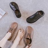 大頭鞋 秋季新款單鞋女文藝復古大頭皮鞋平底繫帶深口女鞋奶奶鞋【免運直出】