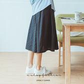 裙子  日式格紋拼接棉麻裙  [灰系]-小C館日系