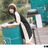 《DA7147-》溫暖磨毛撞色設計寬版長袖洋裝 OB嚴選