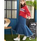 百貨專櫃女裝 後鬆緊合身舒適 魚尾裙襬個性隨性 下擺抽鬚率性有型
