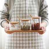 調味罐 川島屋 日式玻璃竹蓋廚房調味罐調味盒防潮糖鹽罐調味瓶套裝TW-7 聖誕交換禮物