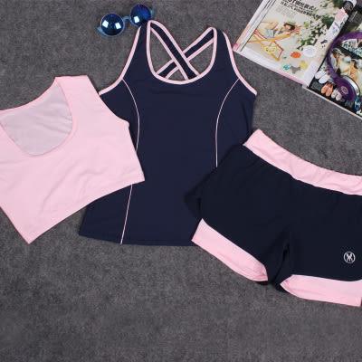 韓國春夏新款瑜伽服套裝三件套女短袖背心休閒運動跑步健身喻咖服   -cmx0014