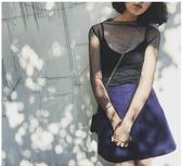 透明網紗打底衫女新款蕾絲罩衫超仙內搭漁網鏤空性 花樣年華
