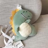 搞怪小斜挎包包女日系丑萌挎包可愛毛絨小恐龍包【小柠檬3C】