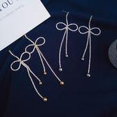 (預購)S925銀針 新款滿鑽耳釘奢華水鑽蝴蝶結耳環網紅明星度假氣質名媛【ADE456】