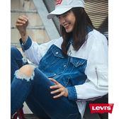 Levis 牛仔外套 女裝 / 短版寬鬆版型 / 棒球夾克混搭設計 / 袖子單口袋
