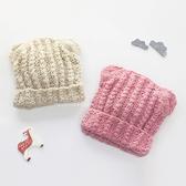 麻花針織熊耳毛線保暖童帽 童帽 保暖帽 針織帽 冬帽