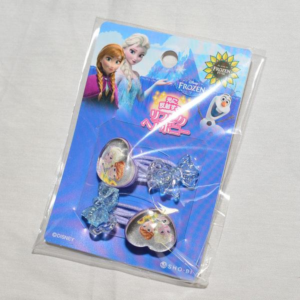 日本製 反光安全 髮圈 髮束 一包裝 冰雪奇緣 FROZEN 心形蝴蝶結