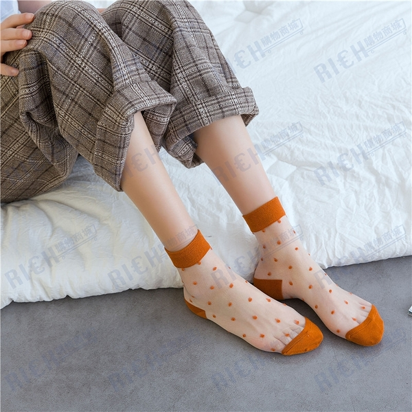 透明襪子女ins潮夏季薄款短襪韓國可愛日系波點透氣玻璃絲中筒襪