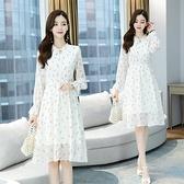 雪紡洋裝 森系雪紡甜美連身裙2021春季新款修身顯瘦遮肚小個子長袖系帶碎花裙女