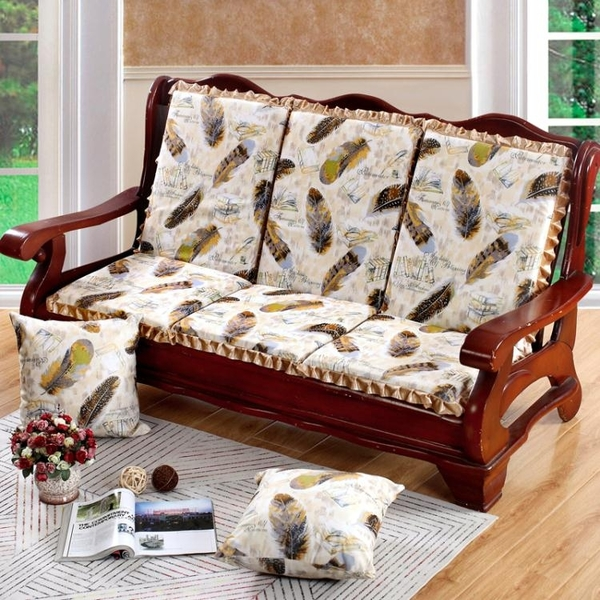 椅墊 冬季加厚法萊絨實木沙發坐墊帶靠背組合海綿可拆洗 萬客居