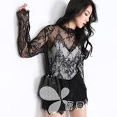 RARAMAX春季黑色小立領長袖蕾絲網紗上衣勾花鏤空寬松透視打底衫