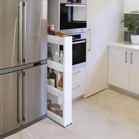 四層縫隙收納架 收納架 收納櫃 置物架 角落架 零食櫃 縫隙 夾縫 浴室 廚房 居家 收納
