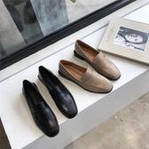 2019春新品復古暗光方頭低跟平底小皮鞋女學院英倫風淺口平跟單鞋