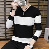 男士毛衣EDZZO秋季男士v領套頭條紋韓版打底針織衫青少年薄款青年毛衣男潮