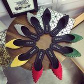 穆勒女鞋外穿時尚尖頭包頭平底女鞋女夏平跟涼拖鞋穆勒半拖懶人鞋 貝兒鞋櫃