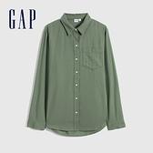 Gap女裝 輕盈質感亞麻長袖襯衫 547923-綠色