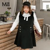Miss38-(現貨)【A10286】大尺碼背心裙 黑色毛呢 鈕扣A字裙擺 保暖百搭顯瘦 無袖連身裙-中大尺碼女裝