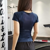 網孔透氣速干運動短袖上衣 緊身彈力修身顯瘦健身房訓練瑜伽T恤
