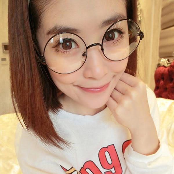 克羅心半金屬眼鏡框復古大圓形眼鏡架金屬金邊平光鏡配眼鏡潮款超取3-7天收貨天收貨