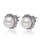 珍珠耳環 925純銀-鑲鑽花朵9-10mm扁圓生日情人節禮物女飾品73lw49【時尚巴黎】