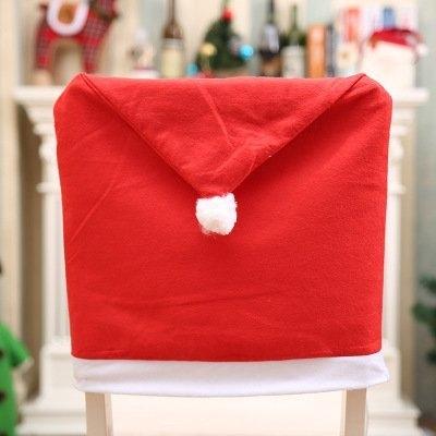 熱賣現貨 紅色無紡布聖誕椅子套 聖誕節餐桌裝飾聖誕帽 手感柔軟