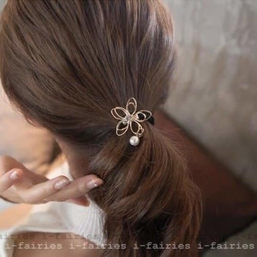 5天出貨★五瓣花蓮花髮圈髮繩頭花 髮飾髮卡 扎頭繩★ifairies【29909】